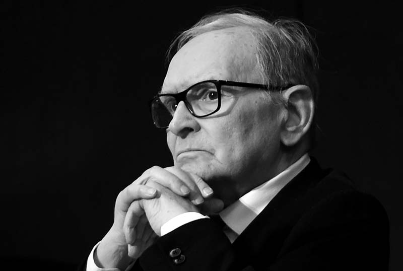 MILAN, ITALY - FEBRUARY 27:  (EDITORS NOTE: this image has been converted to black and white version). Ennio Morricone attends the Honorary Degree at Accademia di Belle Arti di Brera on February 27, 2019 in Milan, Italy.  (Photo by Pier Marco Tacca/Getty Images)